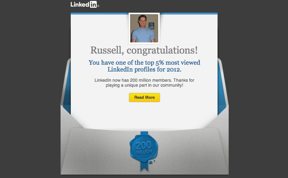 LinkedIn Top 5 percent email